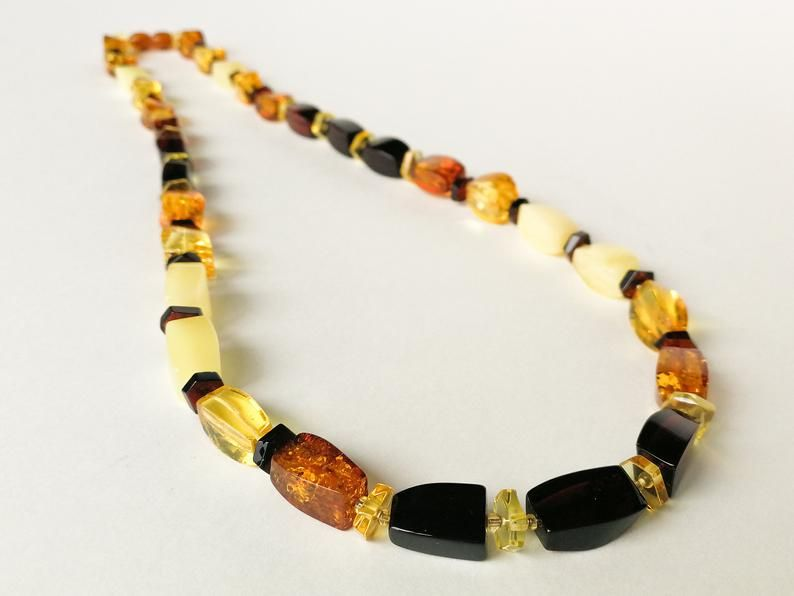 BALTIC MULTICOLOR AMBER /& STERLING SILVER HANDMADE BEAD NECKLACE BEADED