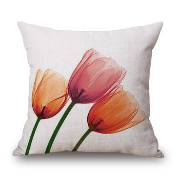 45x45cm Tulip Linen Pillow Case Ink Painting Flowers Cushion Cover Sofa Decor Pintura En Tela Flores Almohadas Decorativas Cojines