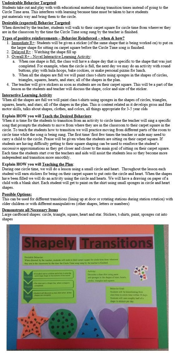 Shapely Transitions  Behavior Contingency Plan Examples