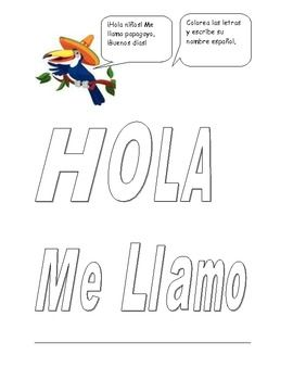Elementary spanish greetings and coloring page spanish activities this is perfect for teaching younger kids spanish greetings with hola and me llamo have m4hsunfo