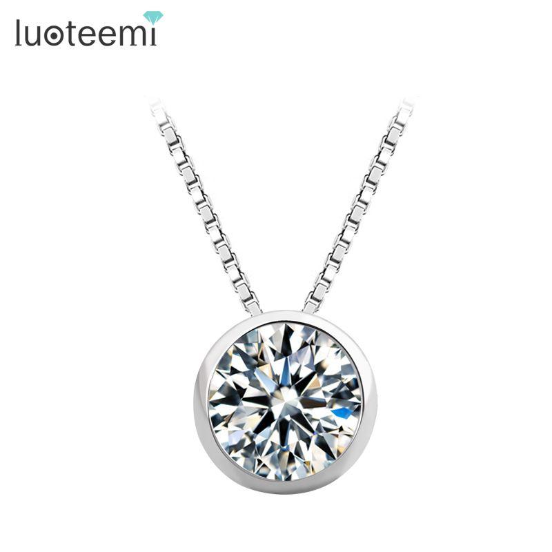 LUOTEEMI Top Quality 1 Carati Singolo Sereno Cubic Zirconia S925 Sterling Silver Jewelry di Fidanzamento Sposa Collana Pendente In Argento