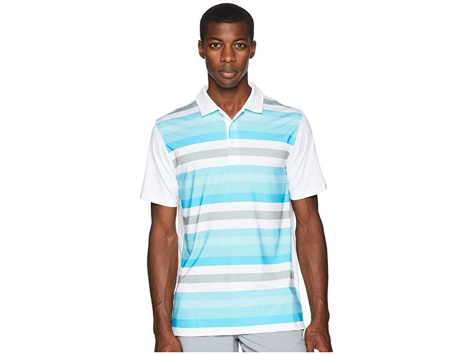 1ab8074803 PUMA Golf Turf Stripe Polo (Bright White/Blue Atoll) Men's Short ...