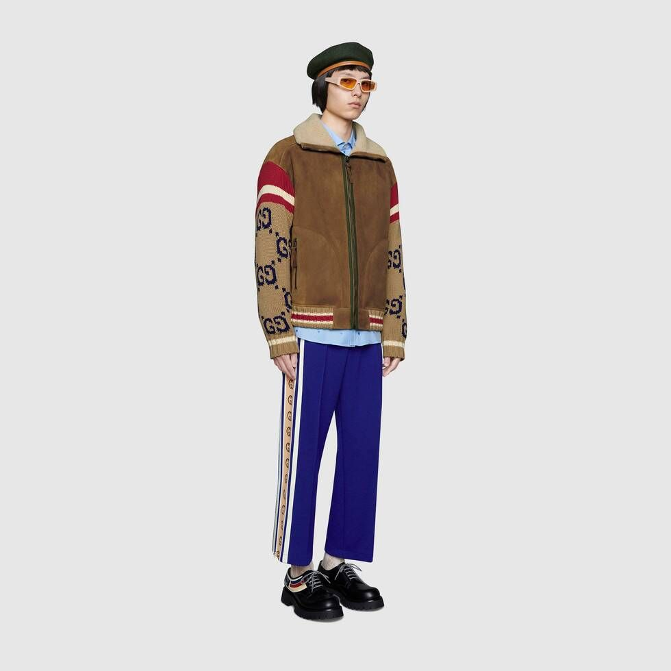 Shop The Brown Suede Jacket With Gg Knit Sleeves At Gucci Com Enjoy Free Shipping And Complimenta Leather Jacket Men Mens Jackets Casual Leather Bomber Jacket [ 980 x 980 Pixel ]