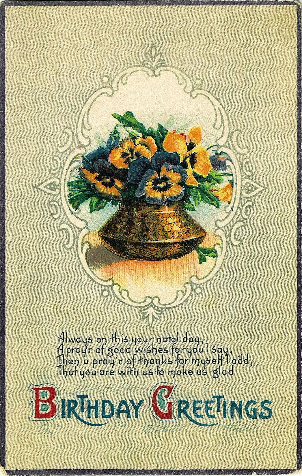 Birthday Greetings Victorian Pansy Card Kids Birthday Cards Birthday Greetings Vintage Birthday Cards