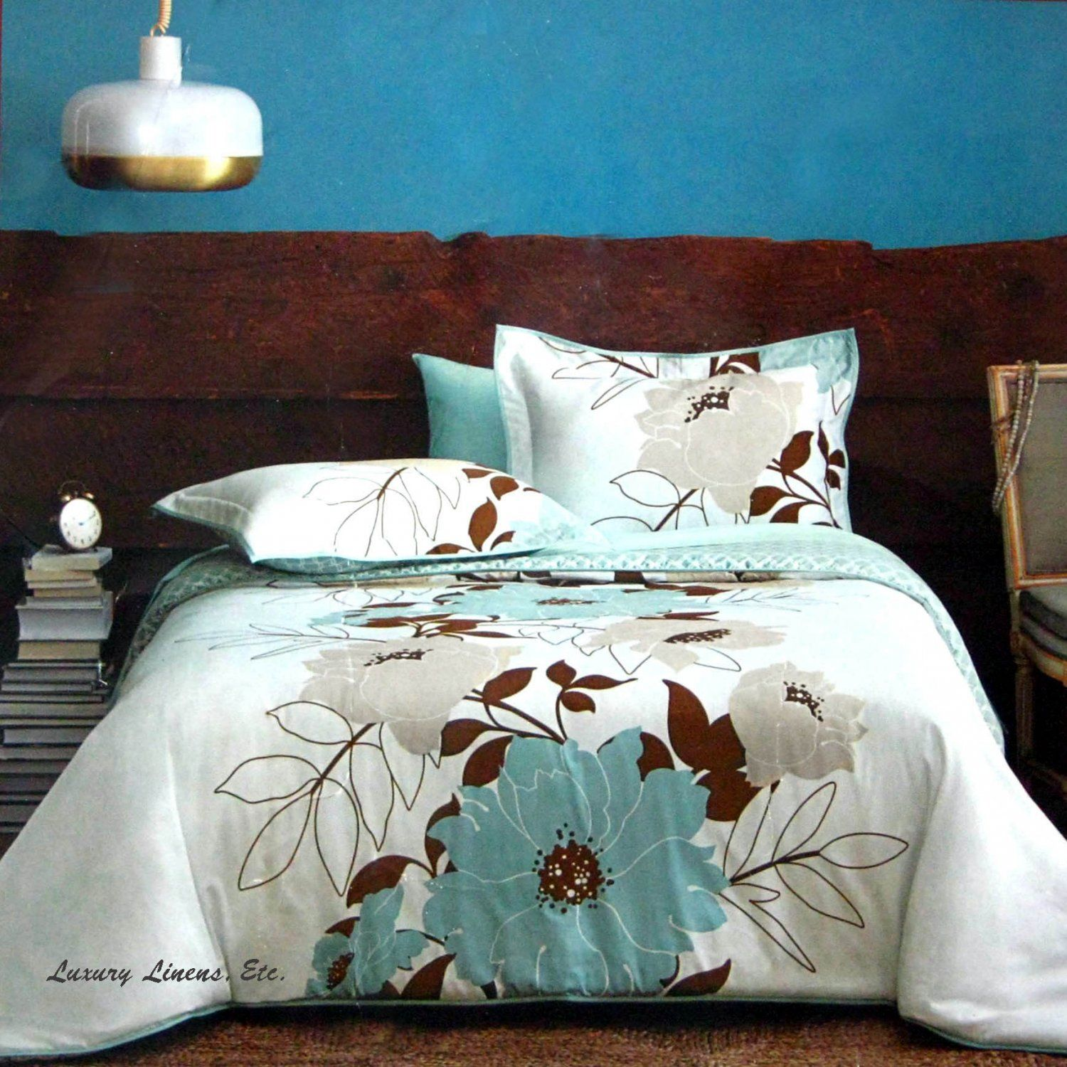 Dwell Studio FLORA Teal Blue Brown Gray forter Set Full Queen
