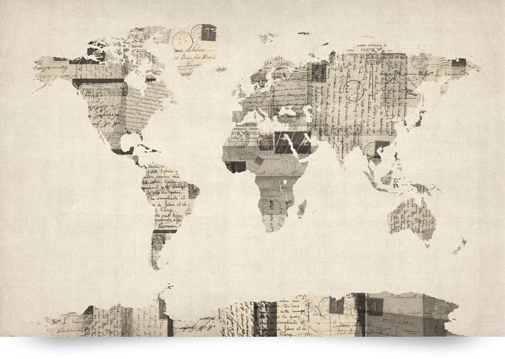 Amazon map of the world map from old postcards giclee art amazon map of the world map from old postcards giclee art print gumiabroncs Choice Image