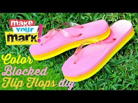 aa59478776170 How to  Color Blocked Wedge Flip Flops - YouTube