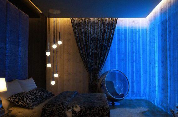 Dark Space Bedroom Lit Up By Blue Lights And Hanging Strobe Lights By Nightreelf Jpg 569 37 Colorful Bedroom Design Modern Bedroom Contemporary Bedroom Design