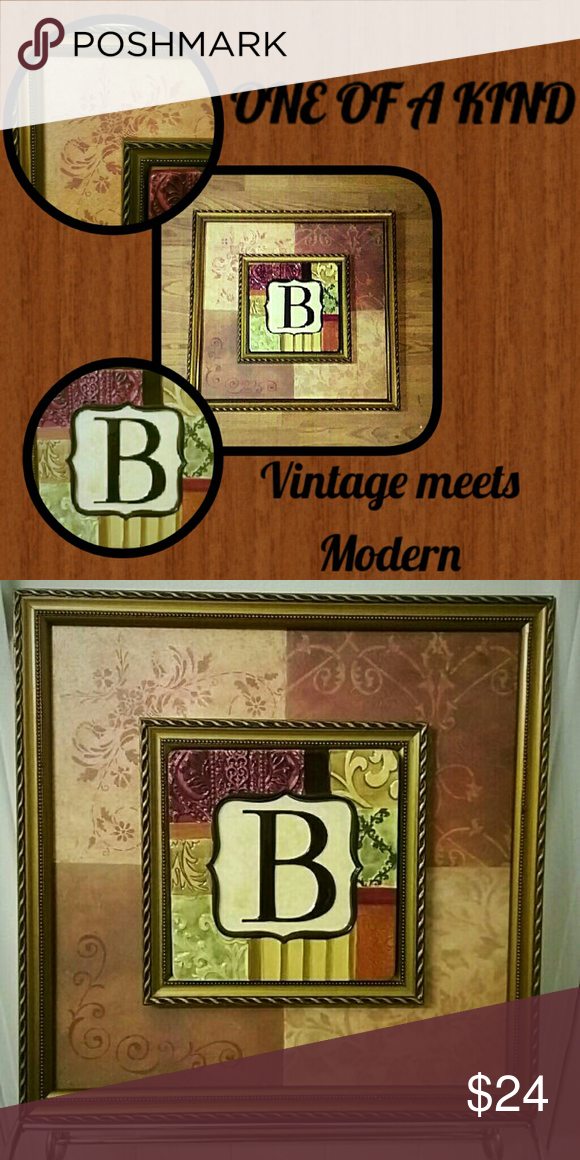 "Custom Wall Art Repurposed Vintage Frame w/ Modern Ceramic Initial ""B"" Tile. Frame: 17.5"" X 17.5"" Tile: 7.5"" X 7.5"" ** HANDMADE ITEM by Me! ** Great for Wedding gift, Housewarming or Just Because !! Other"