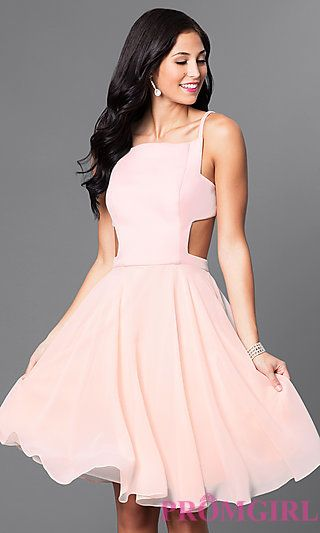 036f89dfc8 Mock Two-Piece Knee-Length Blush Homecoming Dress