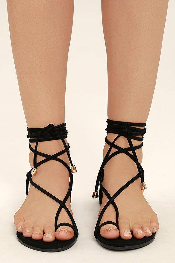 black tie up sandals