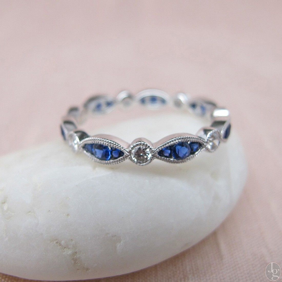 anniversary bands set white rose gold band prong half eternity product ring sapphire