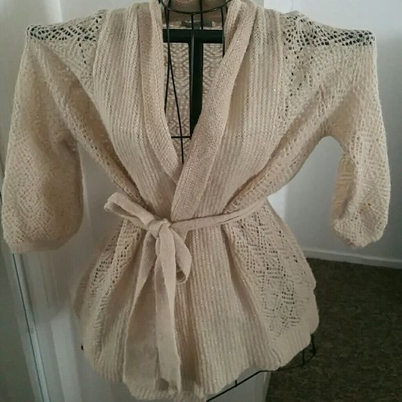 Charlotte Russe sweater Great condition, light sweater. Has flakes of gold glitter in the sweater material. Charlotte Russe Sweaters