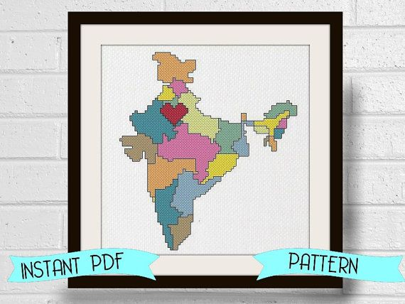 Counted Cross Stitch Pattern India Map Travel Adoption