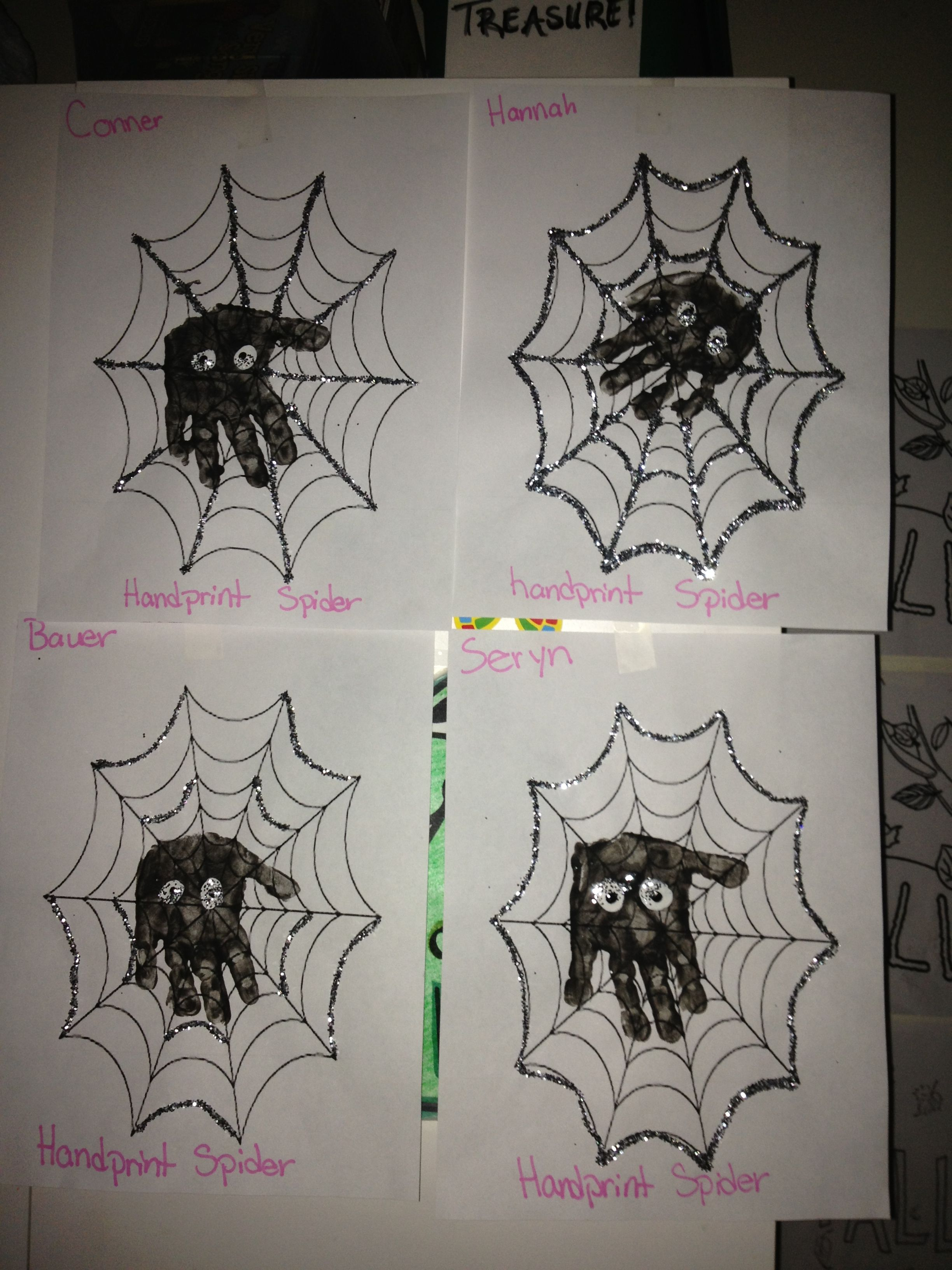 Handprint Spiders Done On A Spiderweb Coloring Page With
