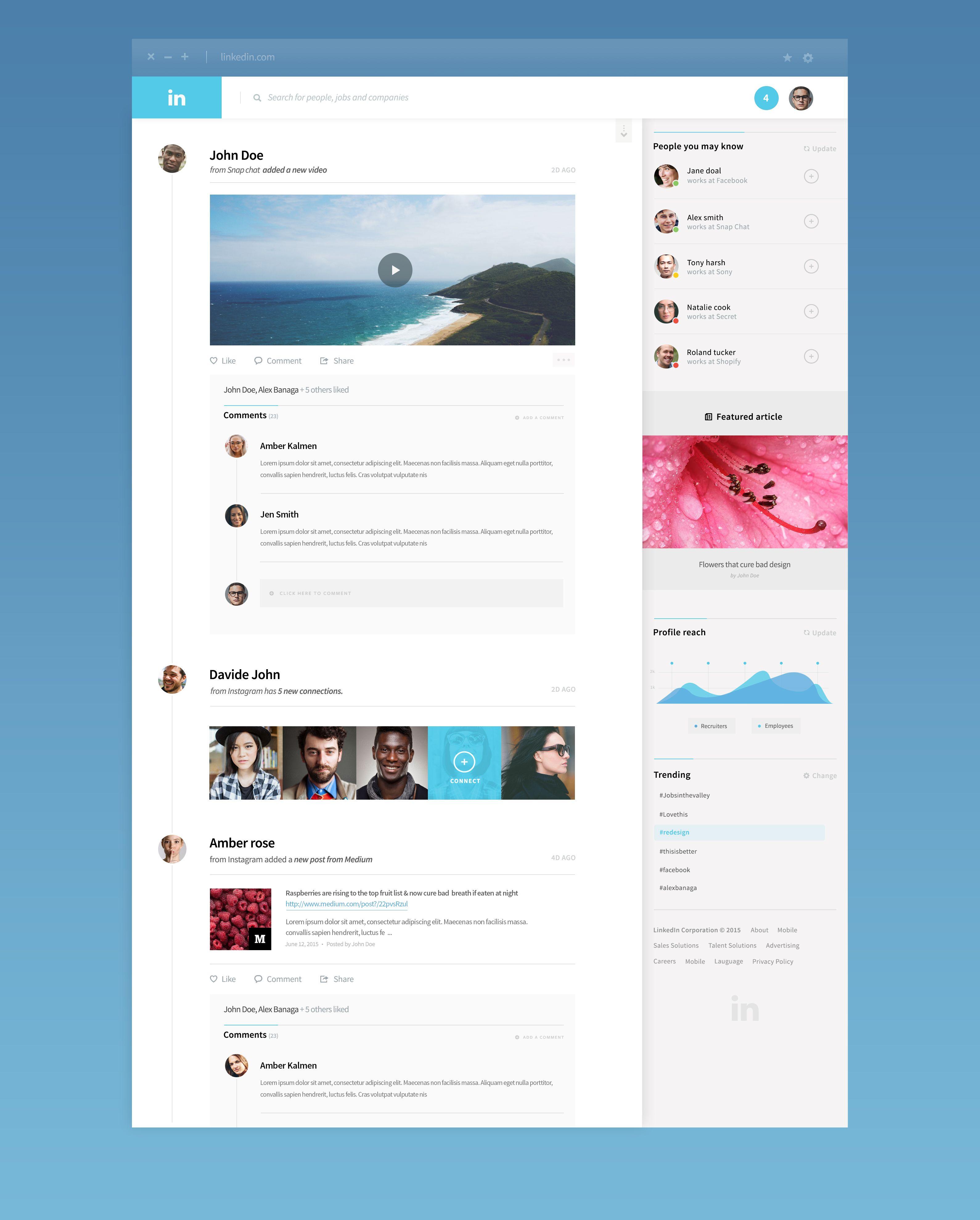 Linkedin | UI Design) Layout - Concept | Pinterest