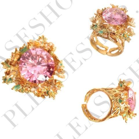 GOLD PLATED RINGS fashion gold plated pink cz gems rings via Etsy