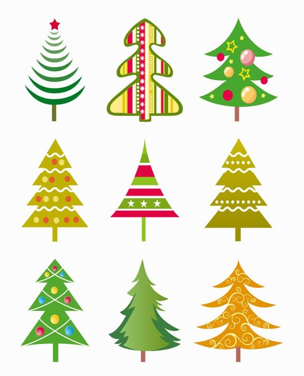 Image Detail For Christmas Tree Vector Illustration Set Free Vector Graphics All Cute Christmas Tree Christmas Tree Clipart Christmas Art
