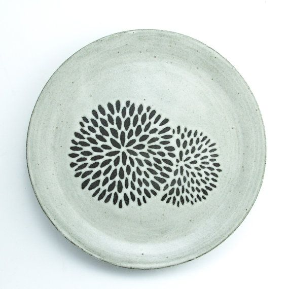 9.5 Dinner Plate Design: Chrysanthemum MADE TO by FoxtailPottery