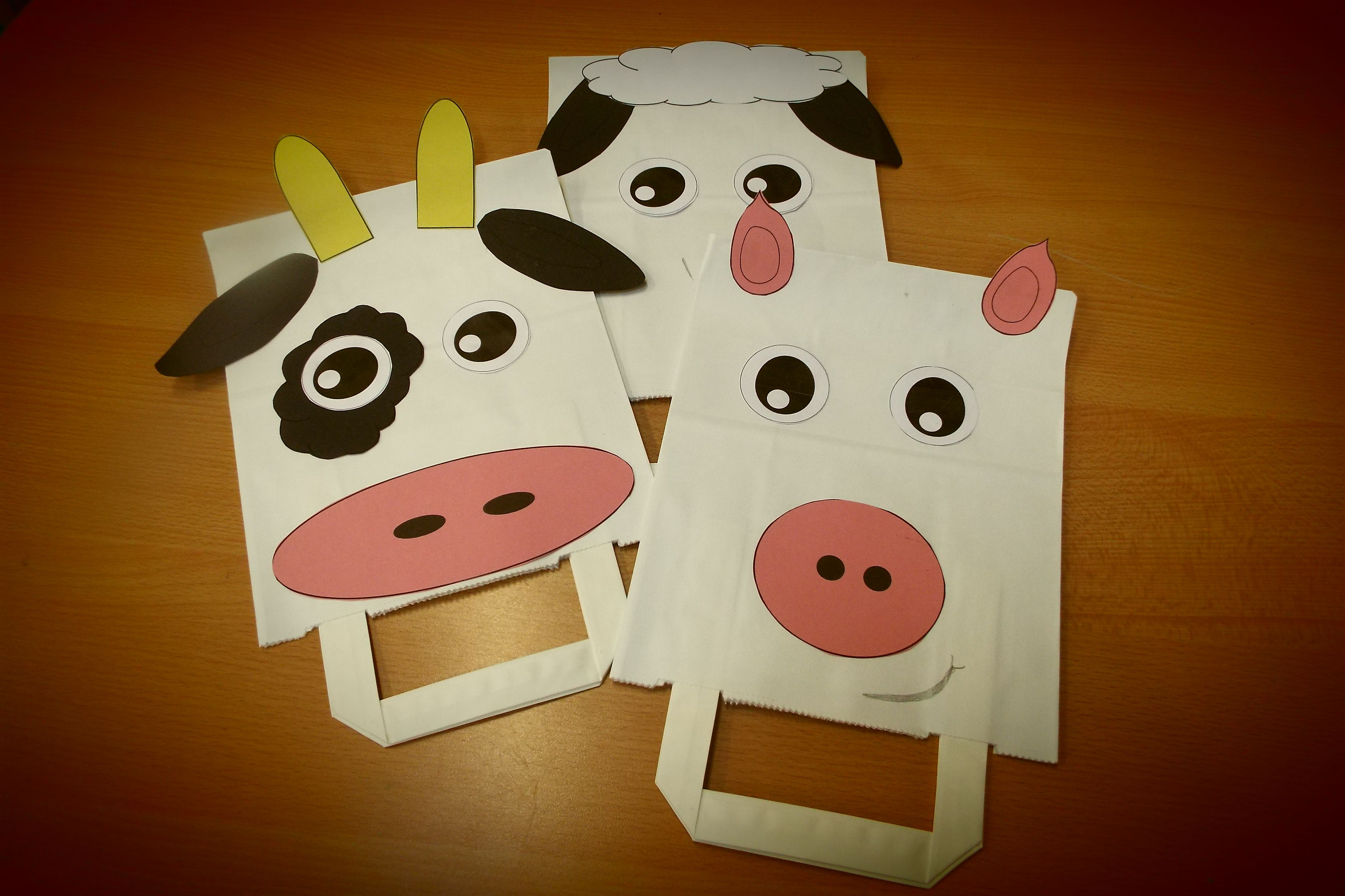 Make Yourself A Farm Themed Paper Bag Puppet Cow Sheep
