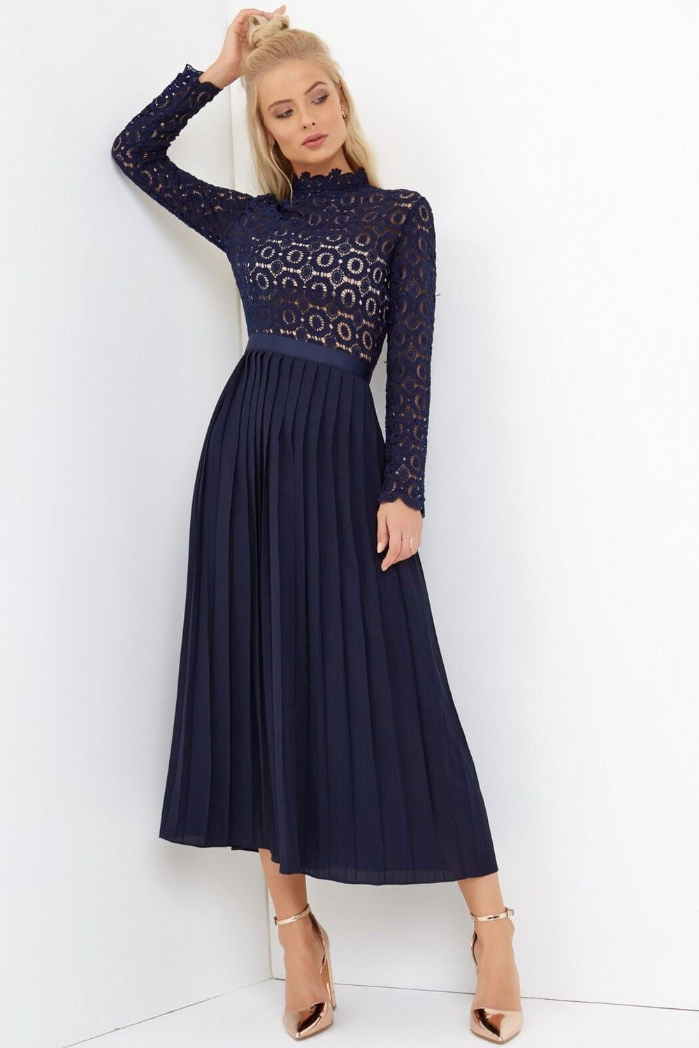 67f99ce42e99 Little Mistress Navy Crochet Lace Midi Dress With Pleats