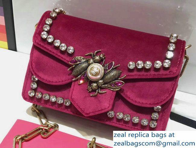 bee velvet shoulder bag - Pink & Purple Gucci xQbbB