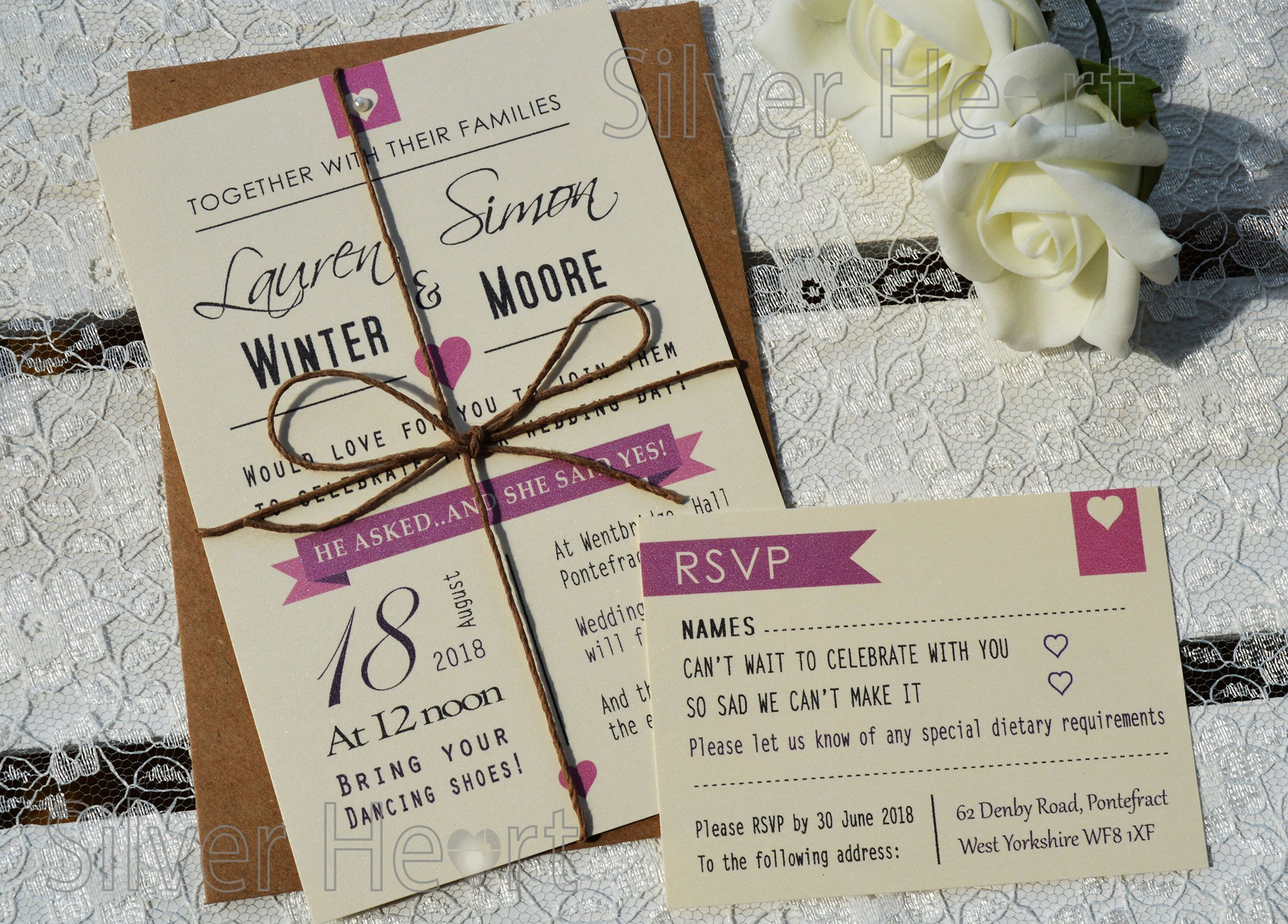 I Do Wedding Invitation with rsvp and twine tie - vintage bundle ...