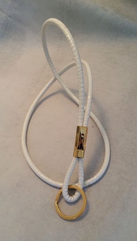 Lanyard / keychain / ID badge holder in white soft ...