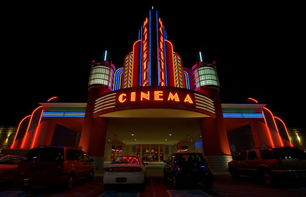 this cinema façade is very art deco in terms of its proximity to the