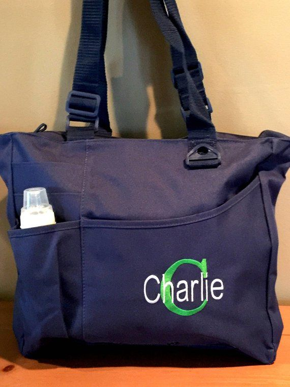 Initial And Name Baby Boy Diaper Bag Personalized Tote New Mommy Daddy Ba