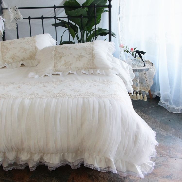 French Lace Ruched White Duvet Cover White Duvet Covers Shabby