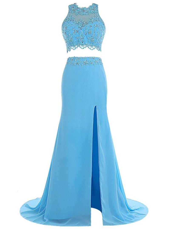 Two pieces sky blue prom dresses sheer applique lace top splitleft
