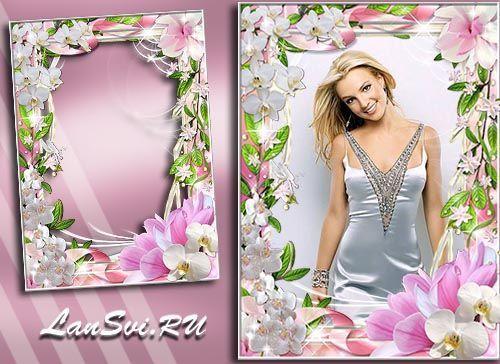 Красивая фоторамка с орхидеями. Вставить фото в рамку онлайн не представляет никакого труда.