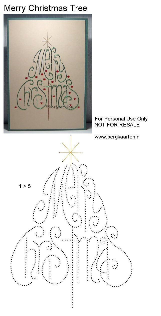 Merry Christmas. Althought this is a card, it's also a good pattern for an embroidered card, suitable for framing for next year.: