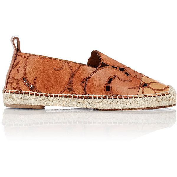 5ef331640695 Chloé Floral-Etched Leather Espadrilles (4 950 SEK) ❤ liked on Polyvore  featuring shoes