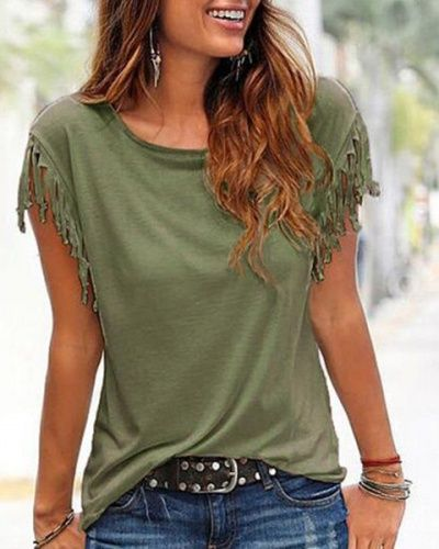 Plain t shirt with fringe for women short sleeve design