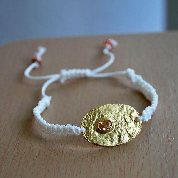 Shamballa bracelet woman, Matte Gold Plated pendant bracelet, Cord bracelet, gold plated Charm bracelet