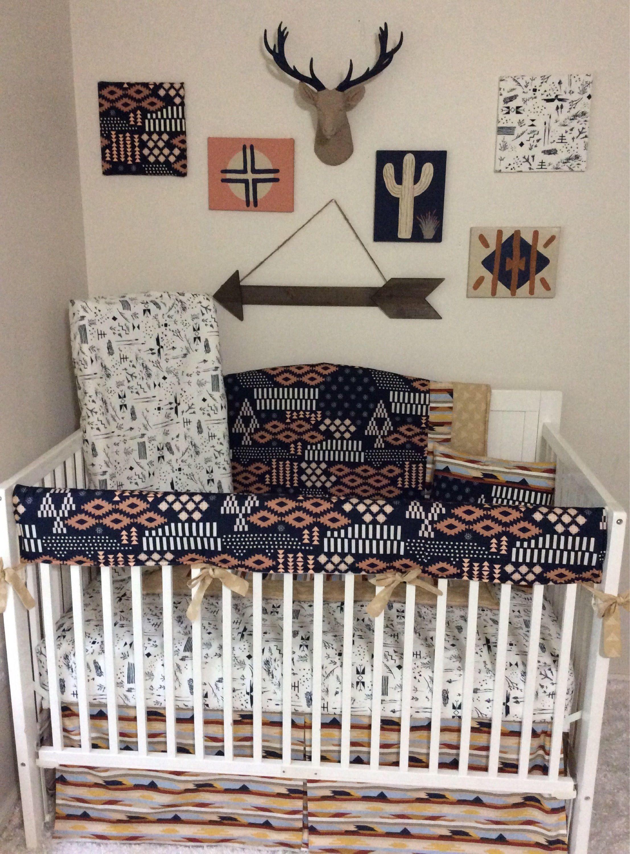 Baby Boy Cribs: Baby Boy Crib Sets, Tribal Themed Nursery, Navy And Tan