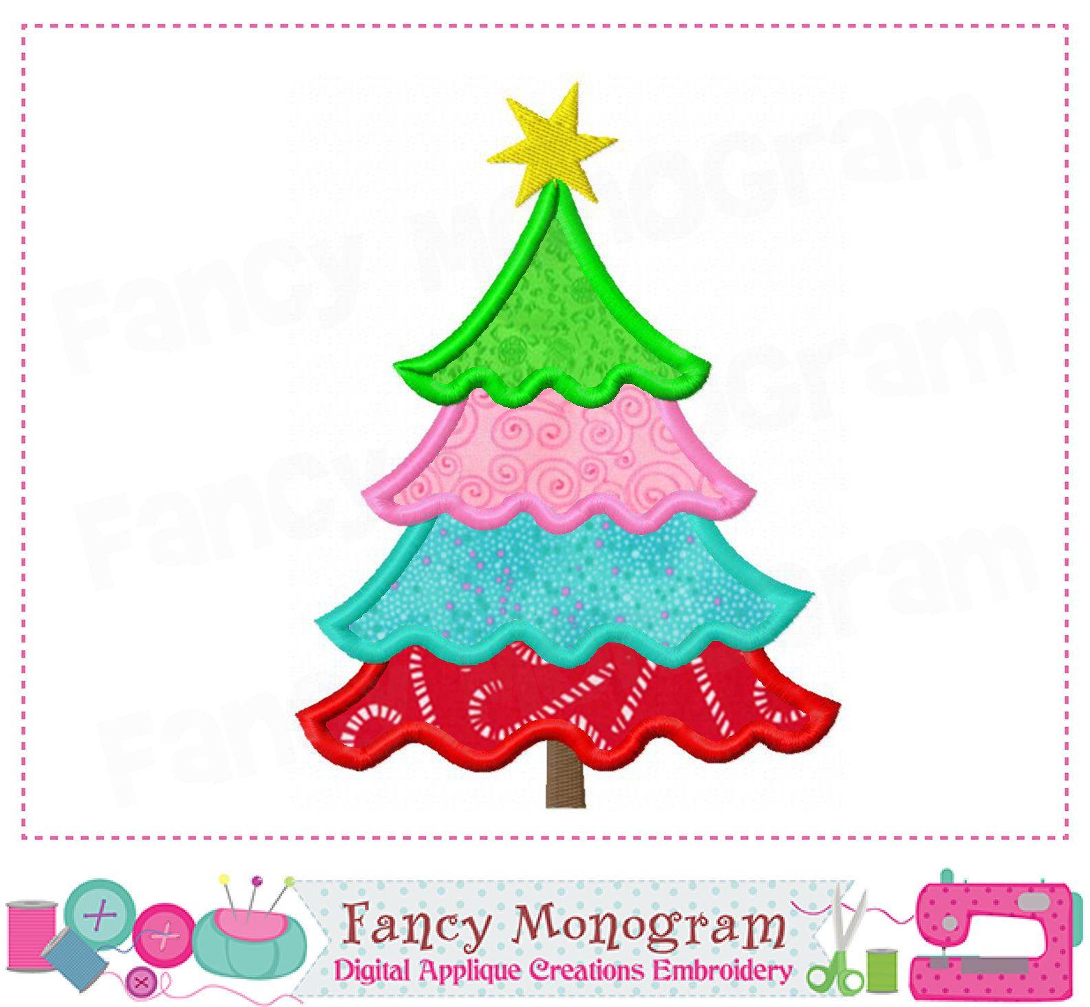 Christmas Tree Embroidery Christmas Tree Applique Etsy Christmas Applique Christmas Embroidery Designs Christmas Design