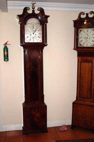 Silvered Dial Antique Grandfather Clock Bythomas Morgan Of