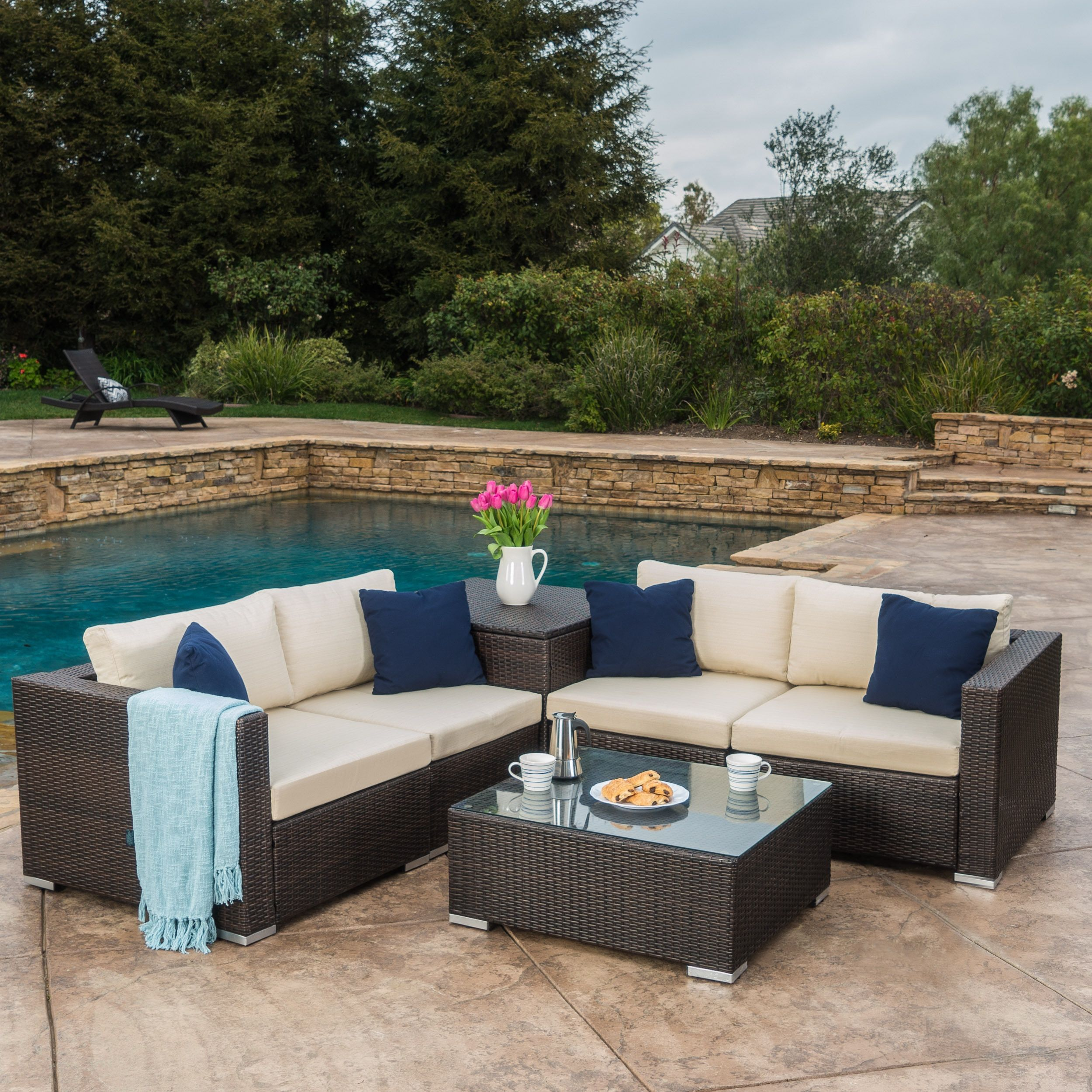 Santa Rosa Outdoor 6 Piece Wicker Sectional Sofa With Storage By