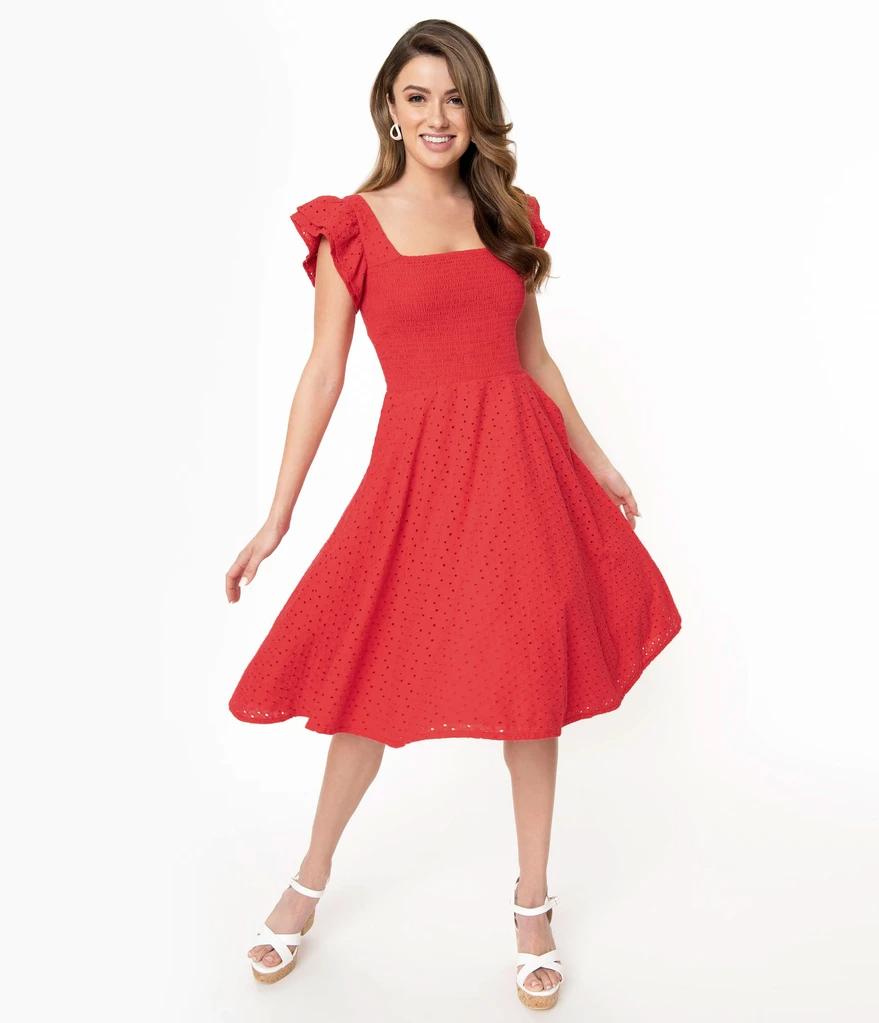 Red Eyelet Lace Smocked Raphaella Swing Dress