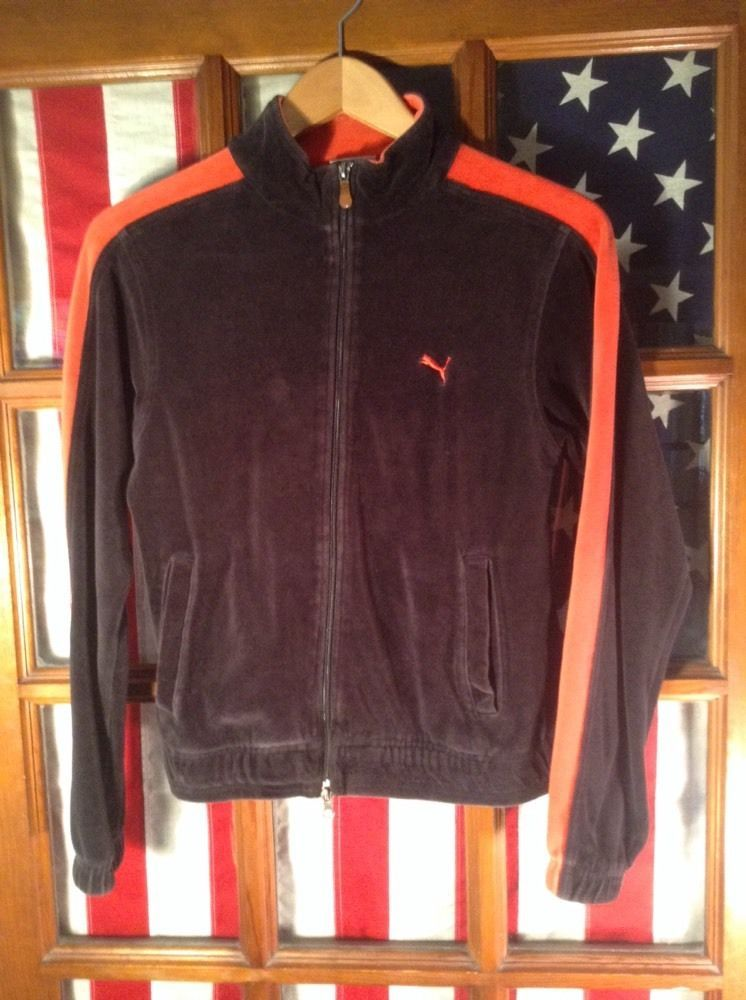 Retro Vintage PUMA Track Jacket Mens Top Black Red Velour