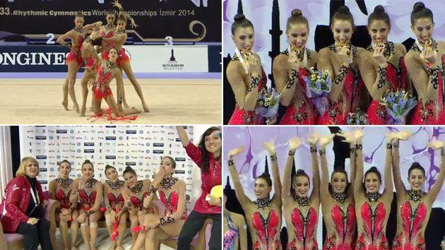El conjunto español de gimnasia rítmica revalida el oro mundial de mazas en Izmir 2014 -