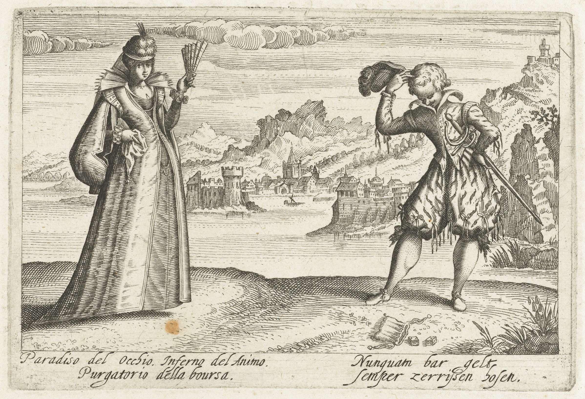 Jacob van der Heyden   Paradiso per Occhio...;dame en heer in landschap, met dobbelstenen, Jacob van der Heyden, 1608 - 1618   Een elegante dame met een waaier in de hand en een jongeman, tegenover haar,staand in een landschap met water en heuvels op de achtergrond. De jongeman kijkt naar de grond, waar twee dobbelstenen en een beurs voor zijn voeten liggen. Prent uit: Pugillis Facetarium....Strasburg.