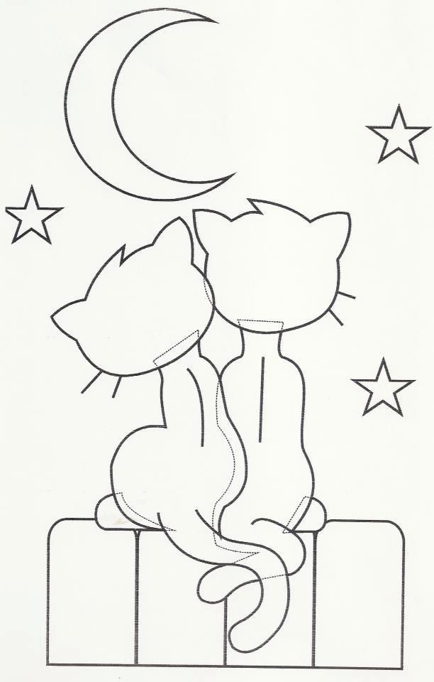 Hand Embroidery Design Cats and a moon. Could use this as an ...