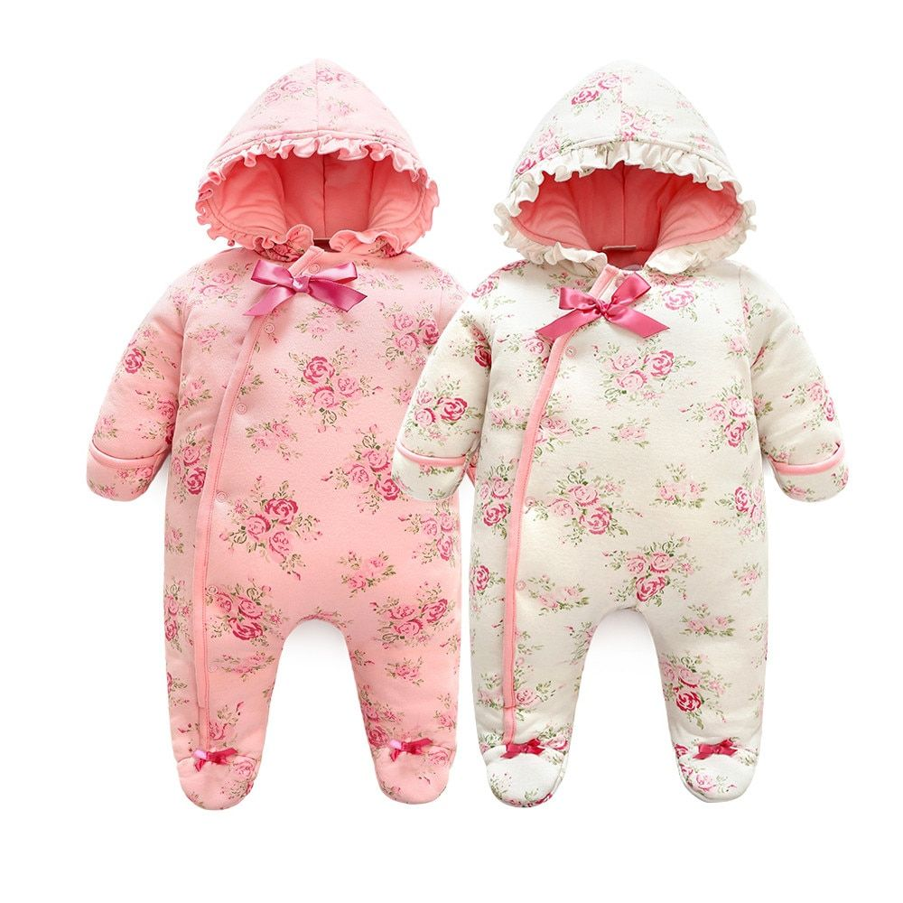 Baby Girl Floral Rompers Hooded Clothing Baby Girl Floral Romper Twin Baby Clothes Winter Newborn