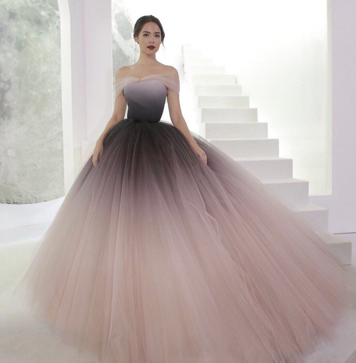 Off-the-shoulder Ombre Prom Dresses Unique Prom Dress Long Evening