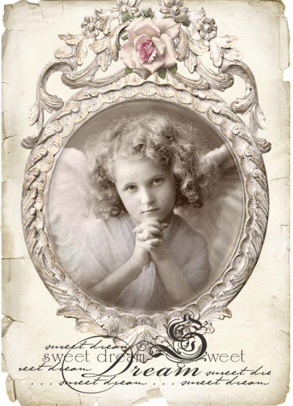 Vintage angel sweet dream Digital collage p1022 Free to use <3
