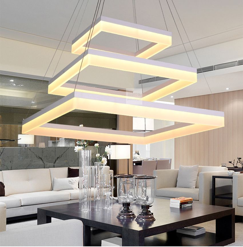 Modern Acrylic Square LED pendant lamp pc quadrate LED hanging light